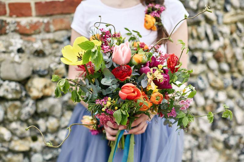 Rustic bridesmaid bright bouquet