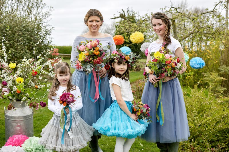 bright spring bridesmaids