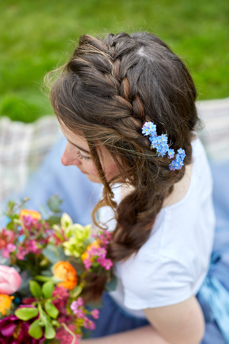 forget me not bridal hair