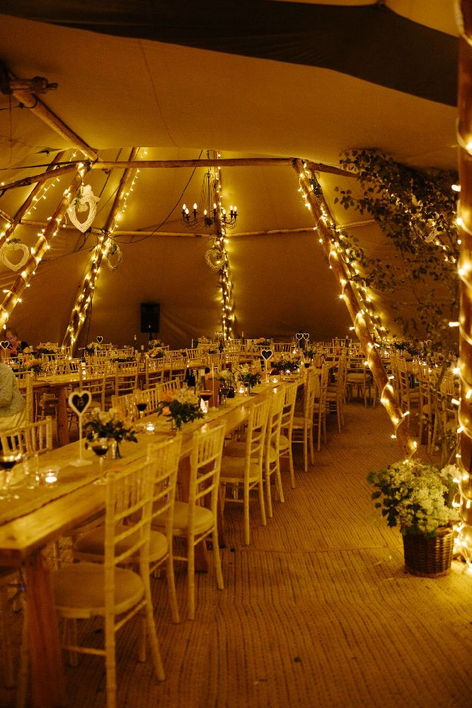 Tipi decor and fairy lights