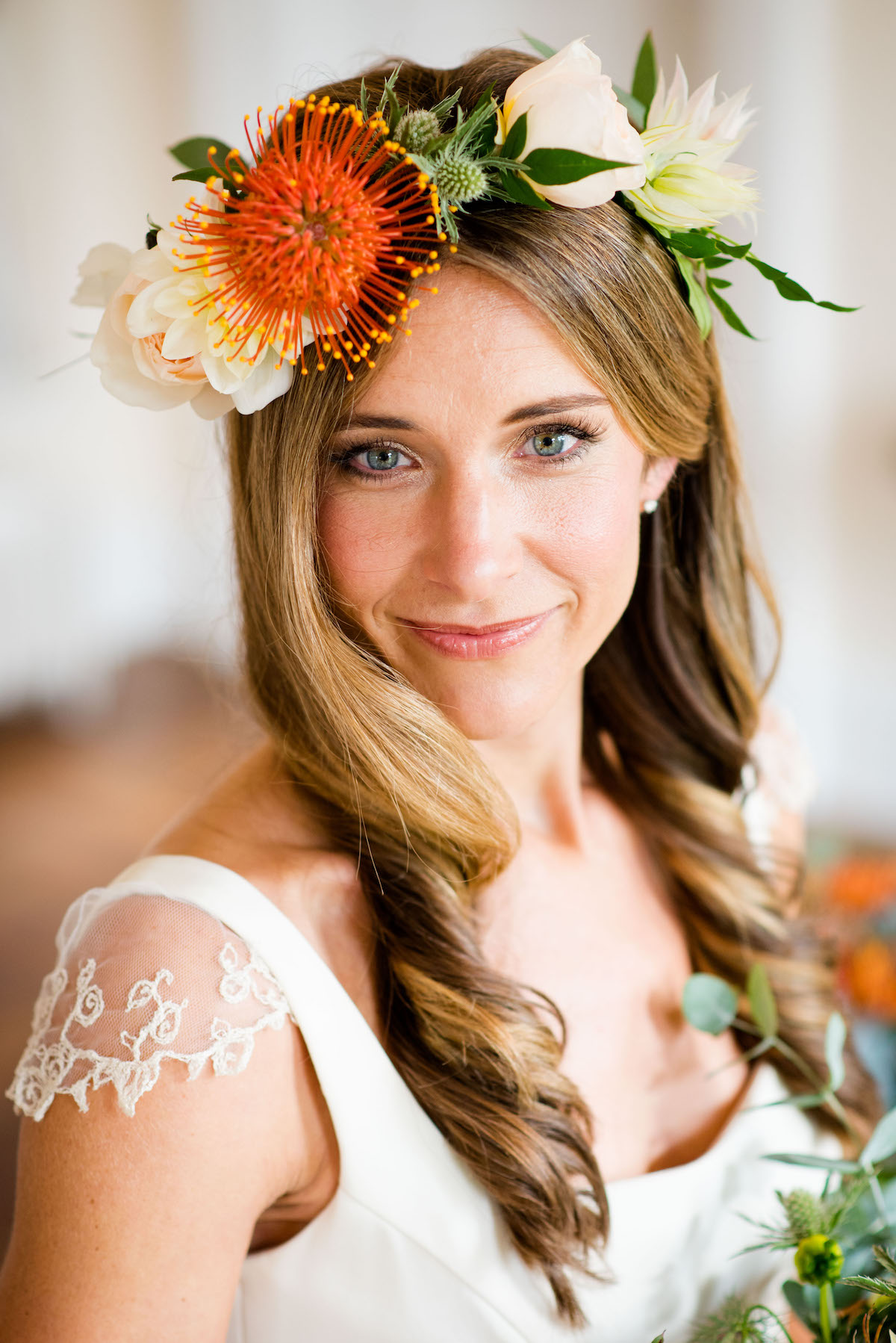 Orange floral crown
