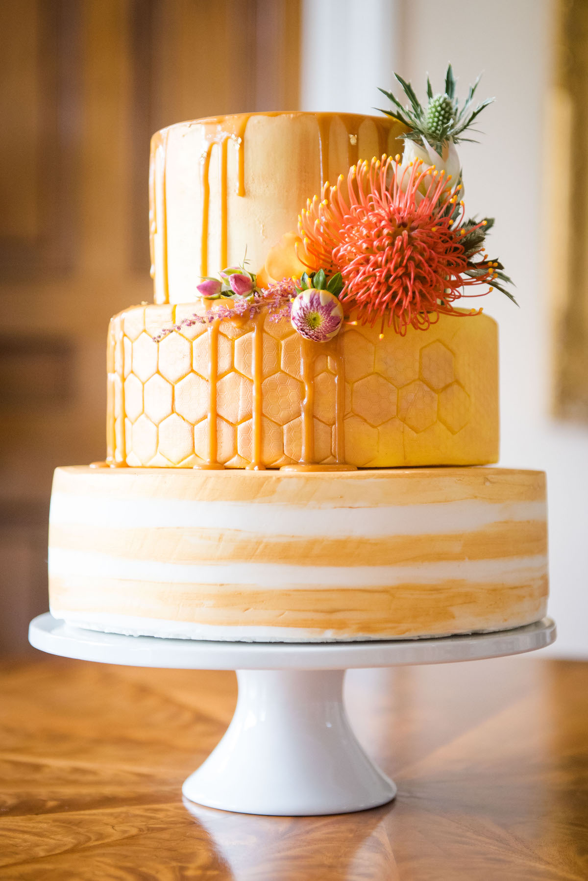 GOLD AND ORANGE WEDDING CAKE NORFOLK