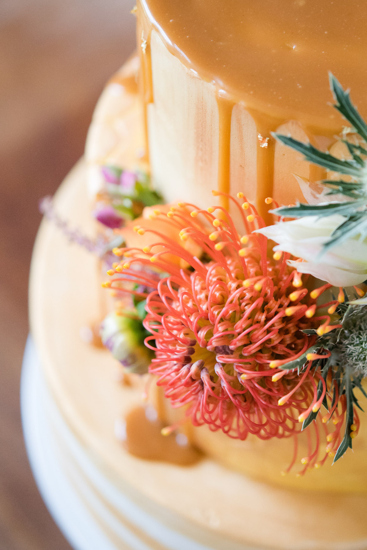 GOLD DRIP CAKE HONEY AND FLOWERS NORFOLK