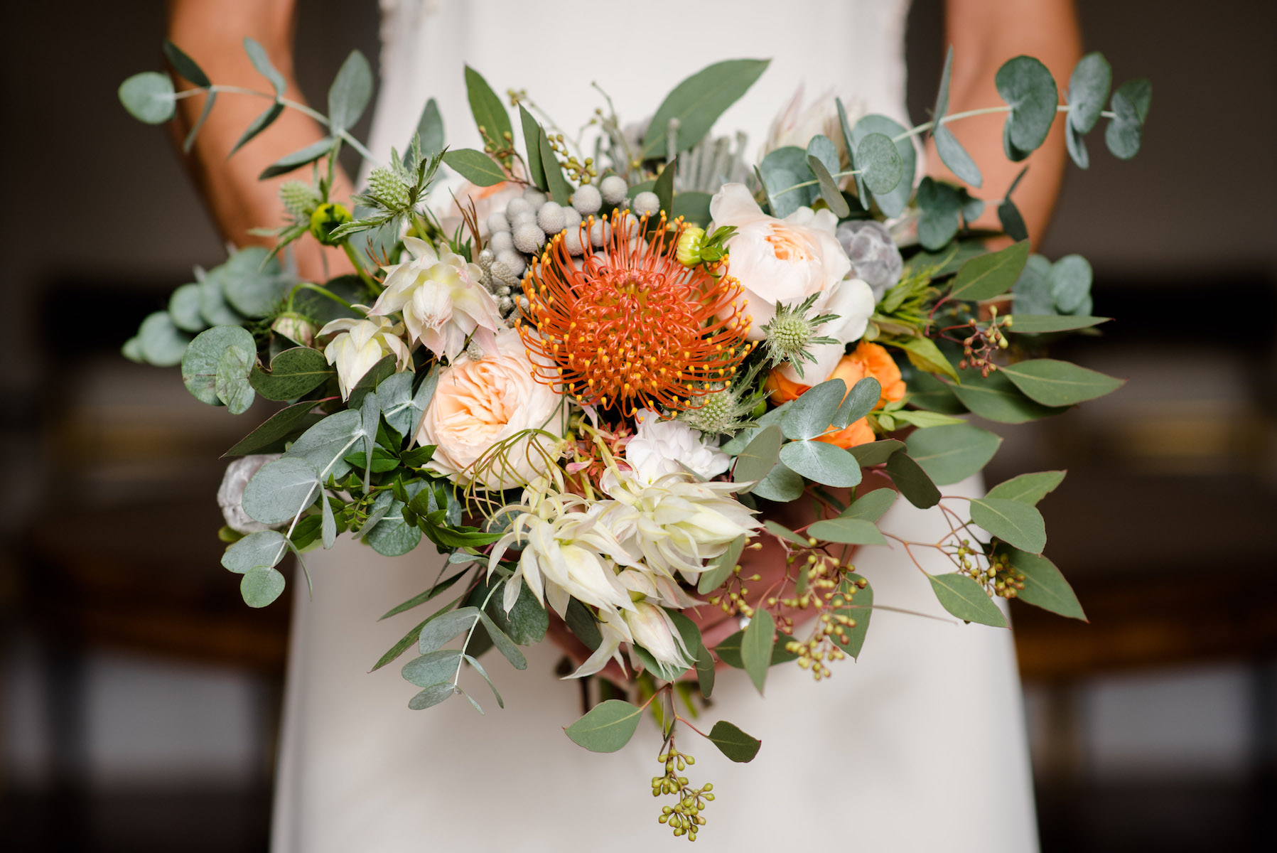 ORANGE AND SUCCULENT WEDDING BOUQUET NORFOLK