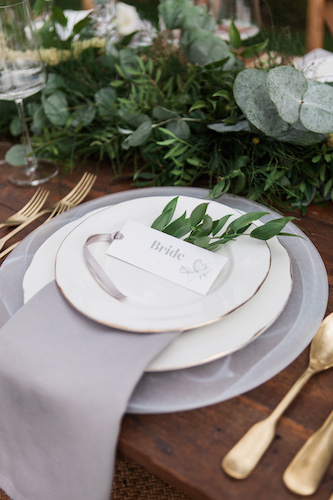 Wedding place setting Norfolk