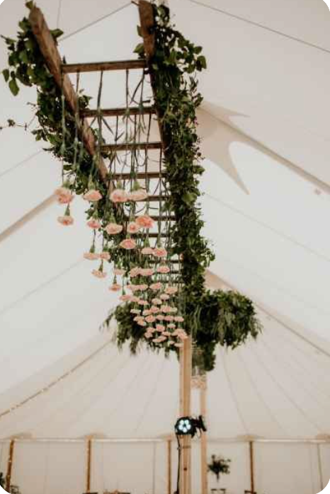 Hanging ladder in marquee