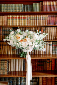 bridal bouquet with silk ribbons